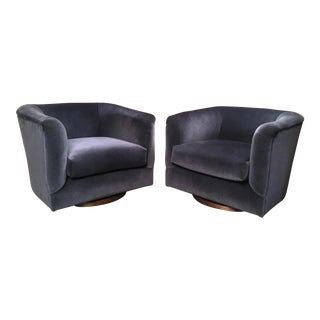 1970's Vintage Swivel Club Chairs- A Pair For Sale