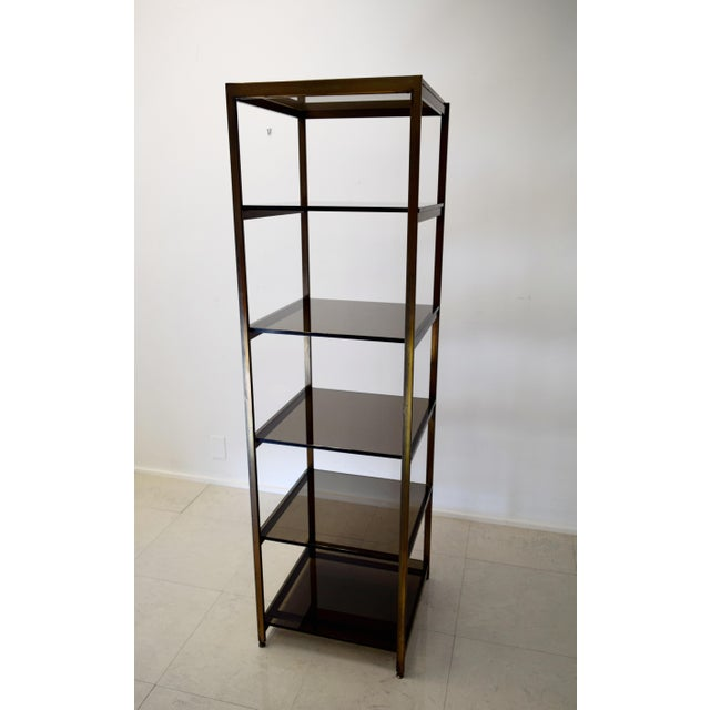Vintage Brass and Smoked Glass Etagere Shelf For Sale In Milwaukee - Image 6 of 7