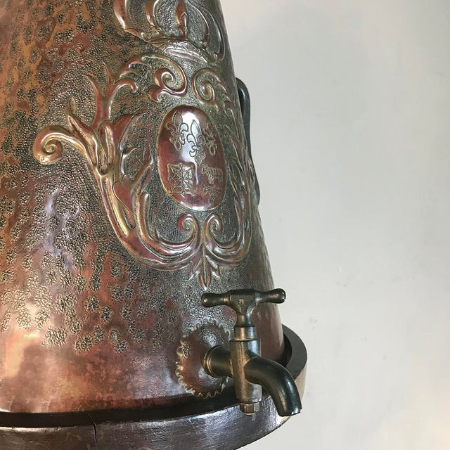 Mid 19th Century 19th Century French Fleur De Lys Embossed Copper Wall Fountain on Original Wood Plaque For Sale - Image 5 of 12