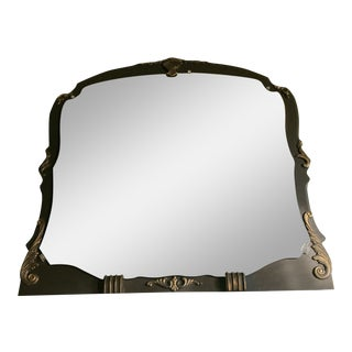 1940s Large Bordello Chic Etched Wall Mirror For Sale