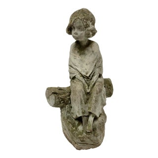 1960's Vintage Young Girl Concrete Figurine For Sale