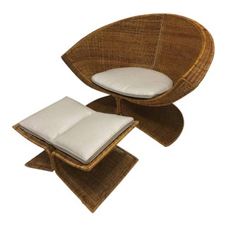 """Rare """"Lotus"""" Wicker Lounge Chair and Ottoman by Miller Yee Fong"""