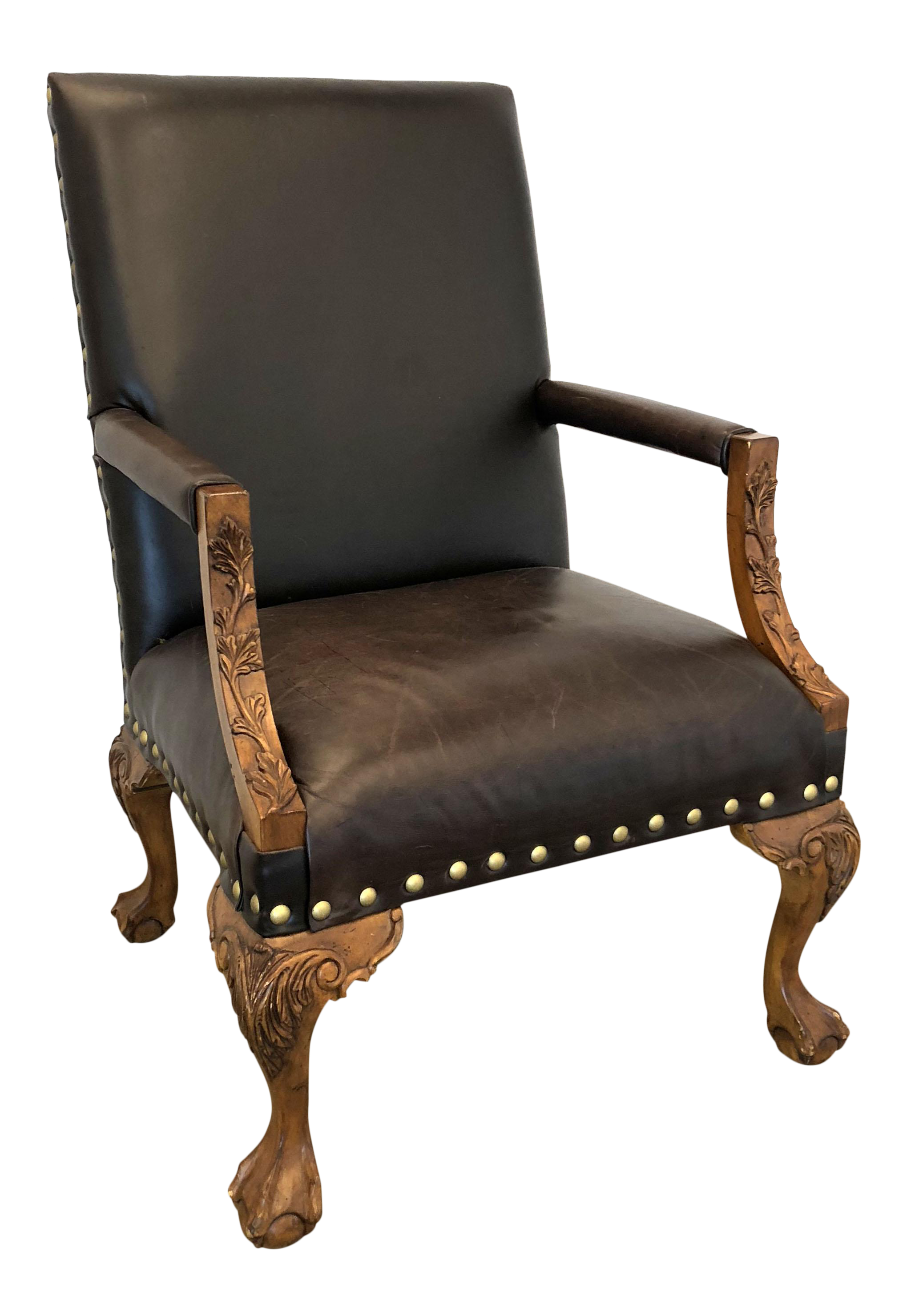 Great Sam Moore Leather Library Chair