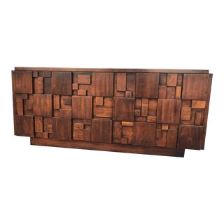 1960s Art Deco Lane Brutalist Mosaic Lowboy Dresser For Sale