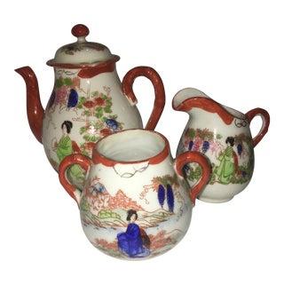 Vintage Japanese Porcelain Tea Serving Pieces - Set of 3