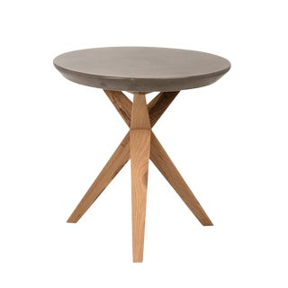 Outdoor Concrete & Oak Side Table For Sale