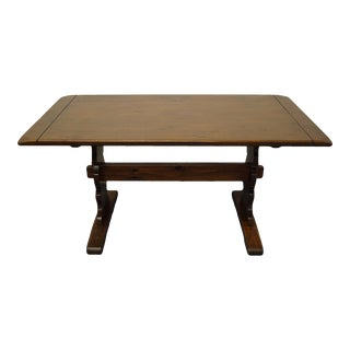 "Ethan Allen Antiqued Pine Old Tavern 60"" Trestle Dining Table For Sale"