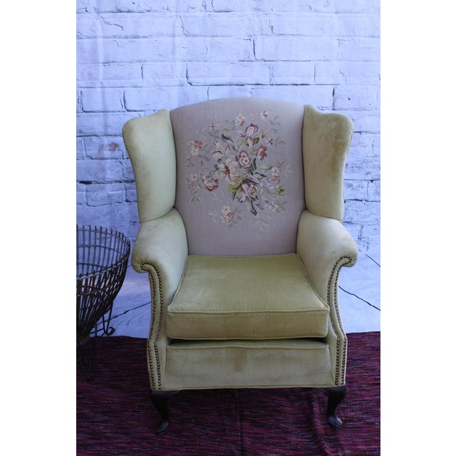 Huge Antique Velvet & Needlepoint Wingback Armchair - Image 11 of 11