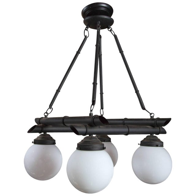 Four White Globe Black Metal Faux Bamboo Chinoiserie Chandelier For Sale