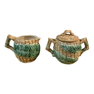 1989 Fitz and Floyd Fern Grotto Ceramic Creamer and Covered Sugar - 2 Pieces For Sale