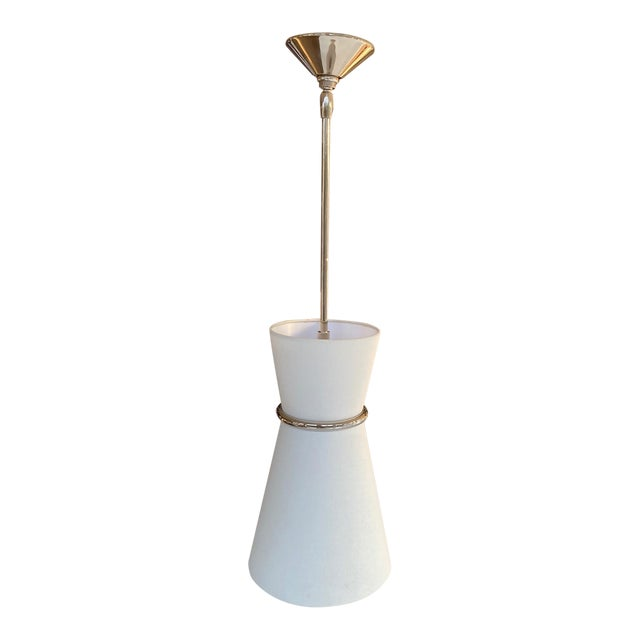 Hanging Pendant Light Fixture in Polished Nickel For Sale
