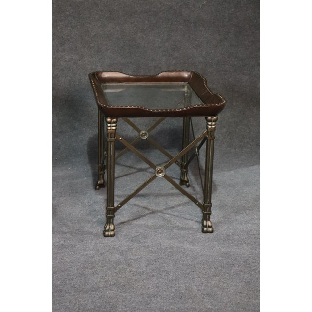 Directoire Style Glass Top End Tables - a Pair For Sale - Image 9 of 10