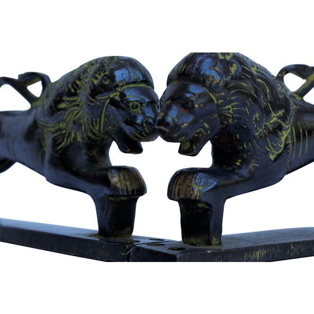 2010s Green Brass Lion Door Handles - a Pair For Sale - Image 5 of 6
