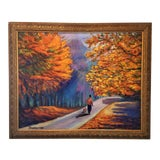 Image of Original Oil Painting Impressionistic Landscape Fall Path Trees Fine Art For Sale