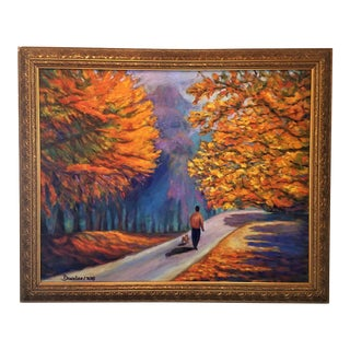 Original Oil Painting Impressionistic Landscape Fall Path Trees Fine Art For Sale