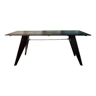 "Mid-Century Handmade Black Dining Utility Table 71"" For Sale"