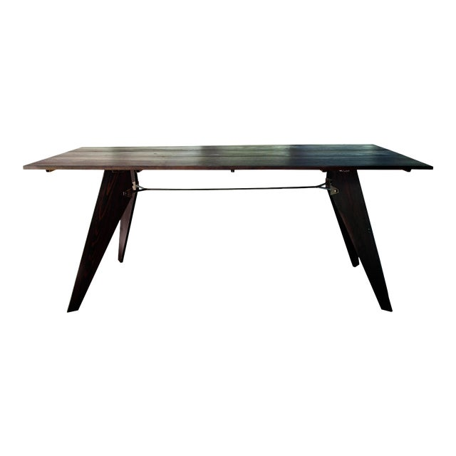 """Mid-Century Handmade Black Dining Utility Table 71"""" For Sale"""
