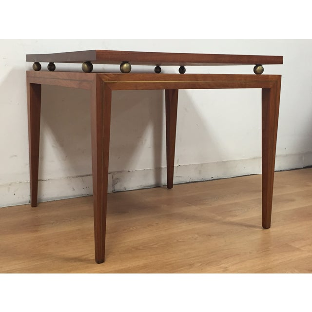 Mid-Century Solid Walnut & Brass Side Table - Image 2 of 11