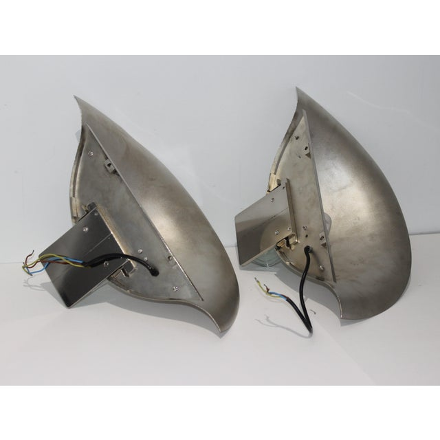 1980s Vintage Art Deco Revival Karl Springer Style Sconces Nickel - a Pair For Sale - Image 5 of 12