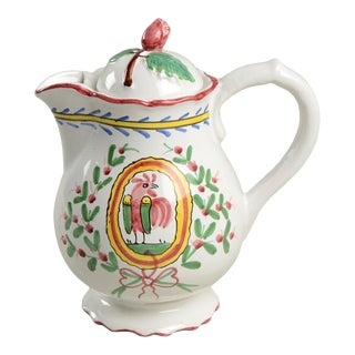 Sigma Italian Pottery Coq De Strasbourg Rooster Pitcher With Lid For Sale
