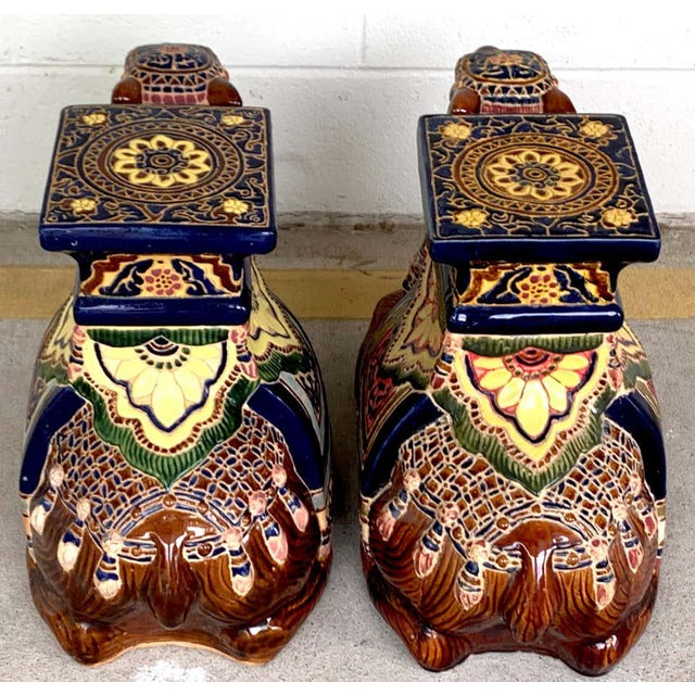 Pair of Hollywood Regency Moorish Majolica Camel Garden Seats For Sale - Image 4 of 5