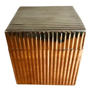 Metal Cube Keepsake Jewelry Box with Lid