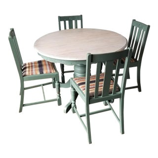 Boho-Chic Antique Farmhouse Dining Table Set - 5 Pieces For Sale