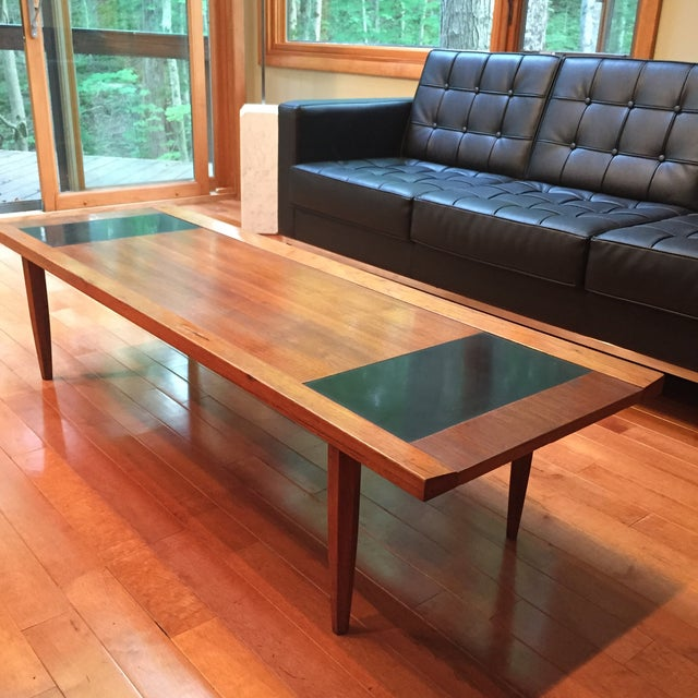 Mid-Century Modern Walnut & Black Coffee Table