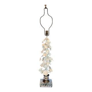 1970s Paul Hanson White Italian Tole Flower Lamp For Sale