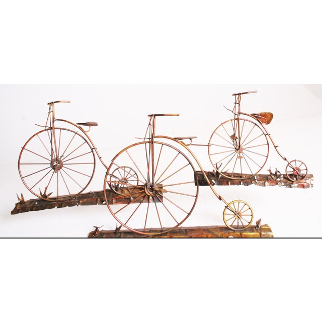 Mid Century Modern Gold Metal Penny Farthing Wall Art - Image 11 of 11