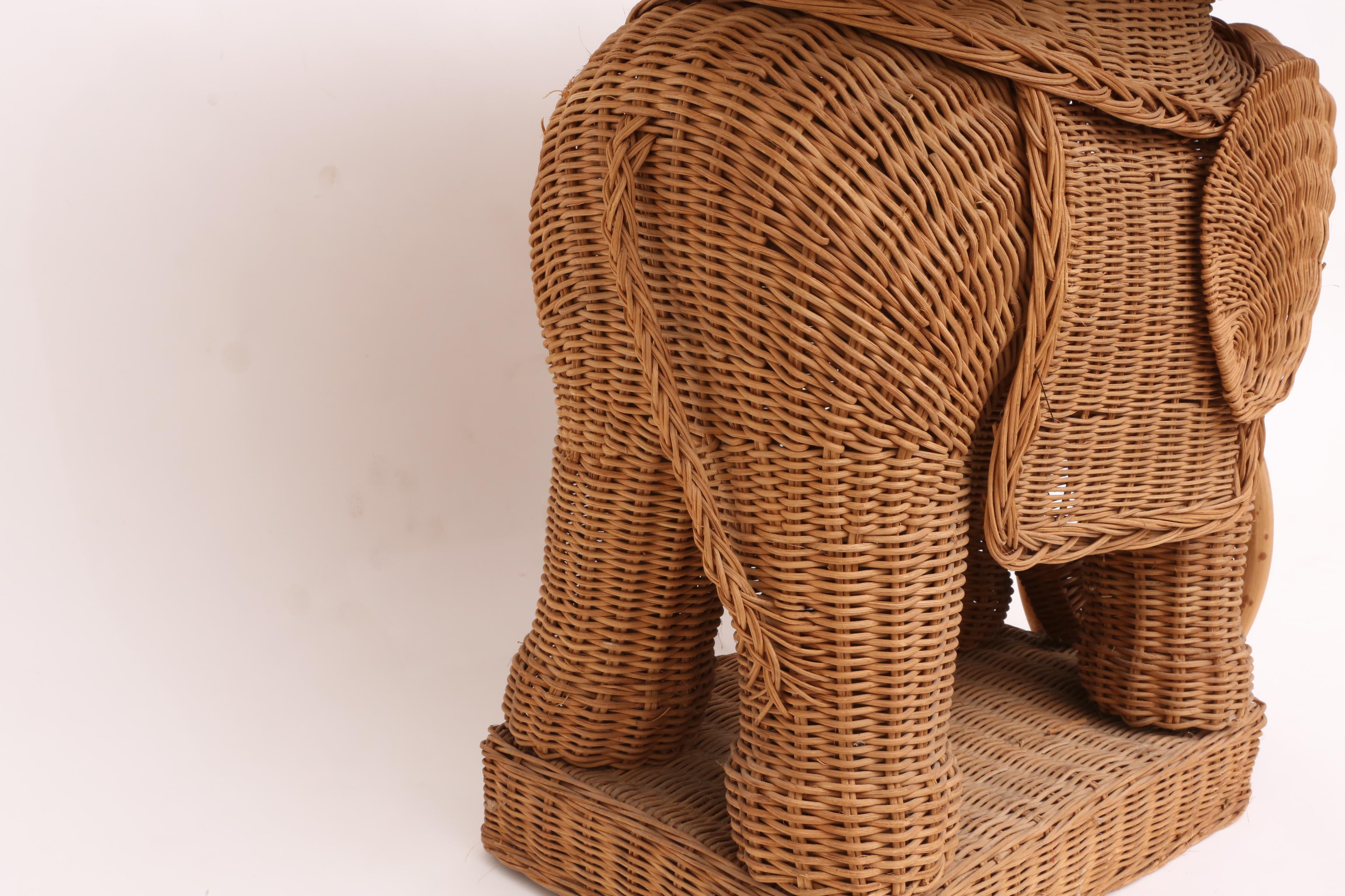 Captivating Vintage Rattan Wicker Elephant Side Table   Image 6 Of 9