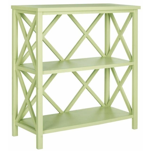 Cross Back Open Bookcase in Light Green For Sale