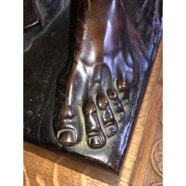After Edme Dumont 19th Cent Large Bronze Depicting Male Figure of Milo De Croton For Sale - Image 10 of 13