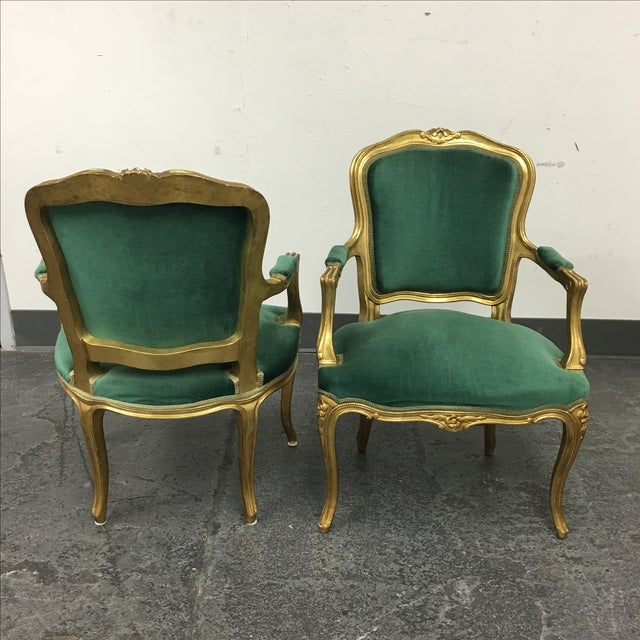 Vintage Green Louis XV Chairs - Pair For Sale - Image 4 of 7