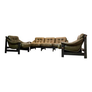 Brazilian Ebony & Leather 3-Piece Seating Group, Jean Gillon