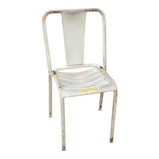20th Century Industrial White Tolex Metal Chair For Sale