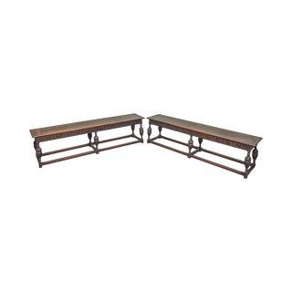 Kittinger Jacobean Style Walnut Benches - A Pair