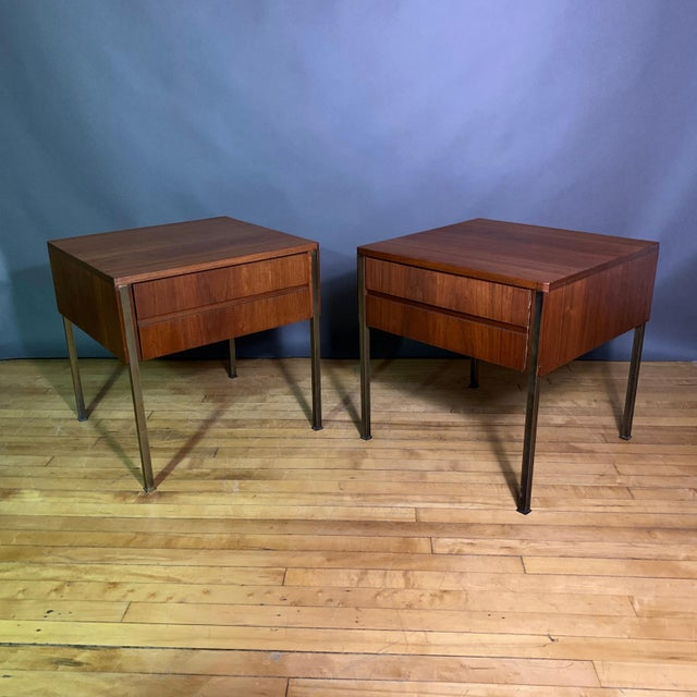 Pair Edmund Spence Walnut and Brass End Tables, Sweden 1945 For Sale - Image 11 of 11