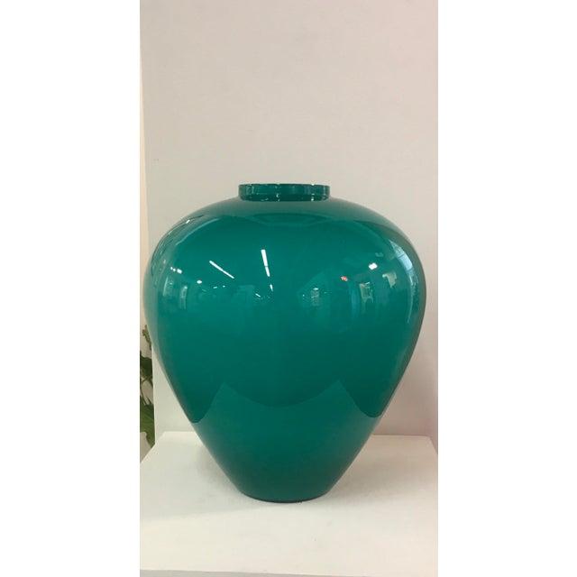 Large Salviati Teal Murano Glass Vase Chairish