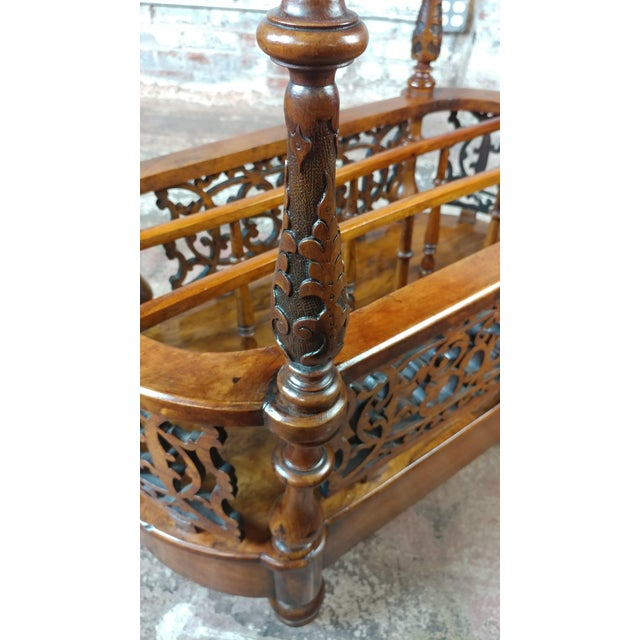 19th c. Georgian Carved Burl Wood Library Book Stand & Magazine rack For Sale - Image 11 of 12