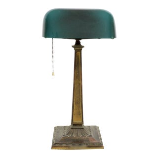 Early 20th Century Green Emeralite Desk Lamp For Sale