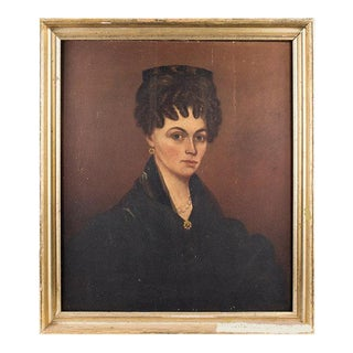 American Folk Portrait of a Woman Wearing Tortoise Shell Comb