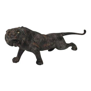Rare 19th Century Iron Tiger Door Stop with Glass Eyes For Sale