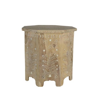 Indian Bone Fitted Octagonal Side Table - Light For Sale