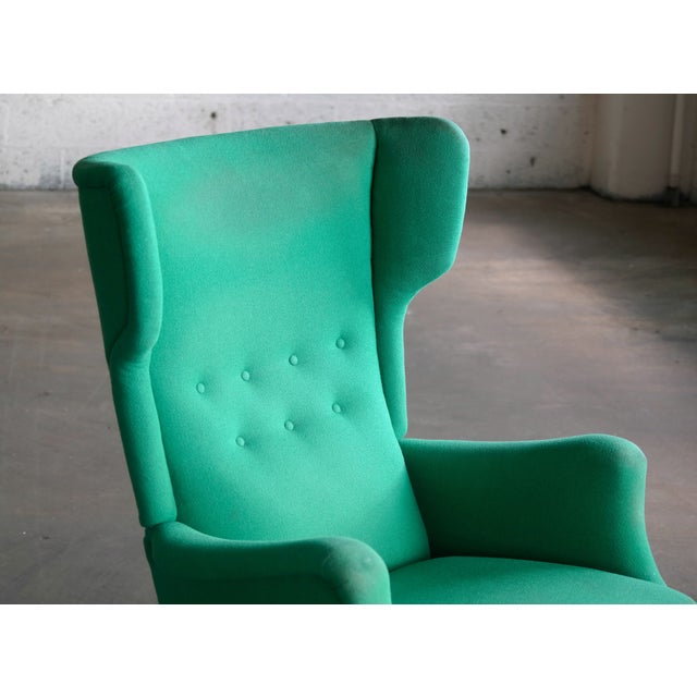 Green Fritz Hansen 1950s Danish Wingback Chair Model 8023 With Ottoman For Sale - Image 8 of 12