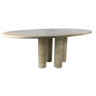 Il Colonnato Travertino Romano Dining Table by Mario Bellini for Cassina For Sale