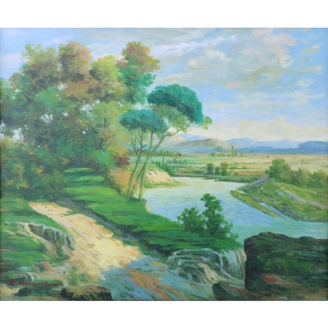Late 20th Century Late 20th Century Original Countryside River Landscape Oil Painting For Sale - Image 5 of 12