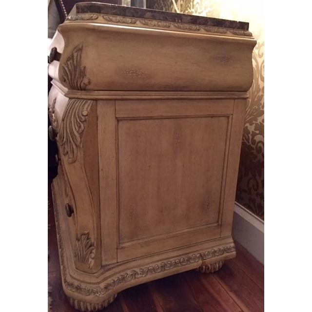 Traditional Marble Topped Nightstands - 2 - Image 4 of 5