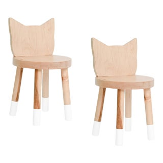 Nico & Yeye Kitty Kids Chair Solid Maple and Maple Veneers White - Set of 2 For Sale