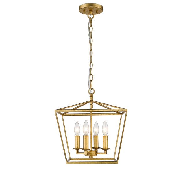 Ponce City 4 Light Semi-Flush Pendant, Gilded Gold or Pendant For Sale - Image 4 of 7